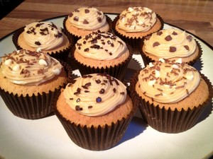 White Chocolate Cupcakes with Peanut Butter Frosting