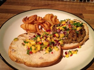 Spiced Burgers with Mango Salsa