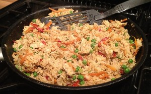 CHicken, Peas and Egg Fried Rice