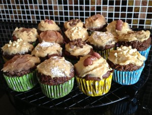 Choc Banana Muffins with Peanut Butter Frosting