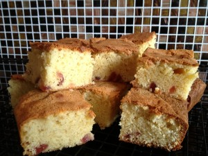 White Chocolate and Cherry Blondies