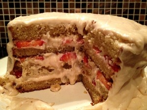 Vanilla and Strawberry Cream Cake